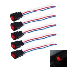 DIY Long Push Button Switches w/ 3 Cables for Motorcycle / Electrocar - Black + Red (5 PCS)