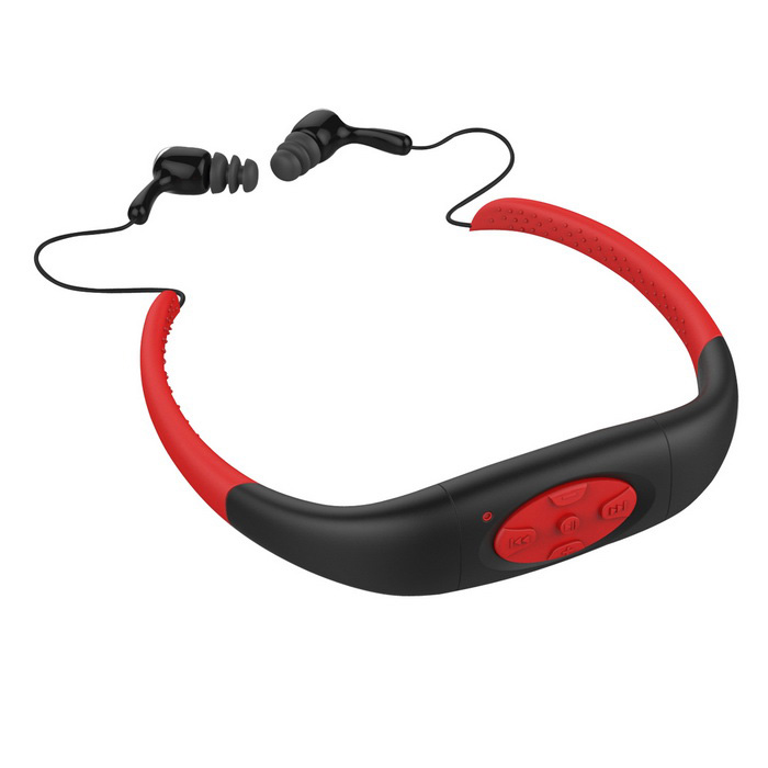 Sport Waterproof Rechargeable In-Ear Headphone MP3 Player w/ FM Radio - Black+  Red (8GB)