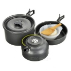Sunfield Portable Outdoor Camping Picnic Pots & Pan & Bowls & Spoons Cooking Set for 2~3 People