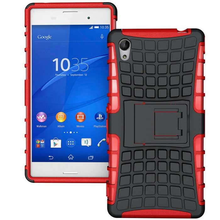 TPU + PC Heavy Duty Armor Stand Case for Sony Xperia M4 Aqua - Red