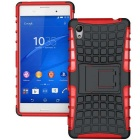 Protective TPU + PC Heavy Duty Armor Stand Case for Sony Xperia M4 Aqua - Red