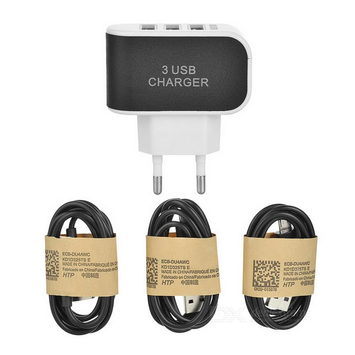 3 -Port USB EU Plug Power Adapter Charger + Opladen datakabels Set voor Samsung S3-S4-S5-S6