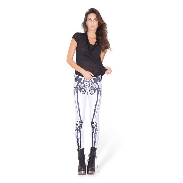Skeleton Printed Polyester Pencil Feet Leggings - White + Black
