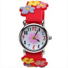 3D Cartoon Creative Flowers Pattern Silicone Band Quartz Analog Children Watch - Red + Multicolor