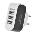 EU Plug 3-USB Power Adapter + Micro USB Data Cable - Black + White