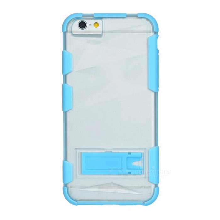 ABS Back Case w/ Stand for IPHONE 6 - Light Blue + Transparent