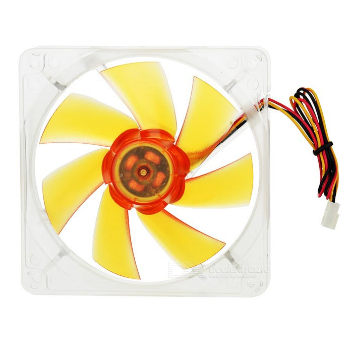 Akasa 7-Blade Quiet 12cm PC Case Cooling Fan - Orange + Transparent