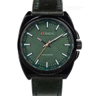 CURREN Men's Fashion PU Leather Wristband Analog Quartz Watch - Black + Green (1 x 626)