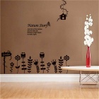 Flowers and Trees Wall Decal PVC Wall Sticker - Black