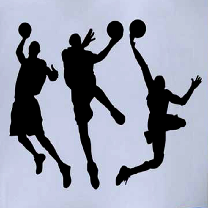 Creative Basketball Players Style Removable Wall Sticker Decal - Black