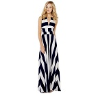 European Style Sexy Halter Backless Striped Maxi Dress - Black + White (M)