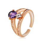 Women's Purple Crystal Water Drop Inlaid Opening Finger Ring - Gold