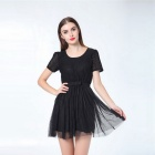Fashionable Bowknot Gauze Lace Princess Dress - Black (Size L)