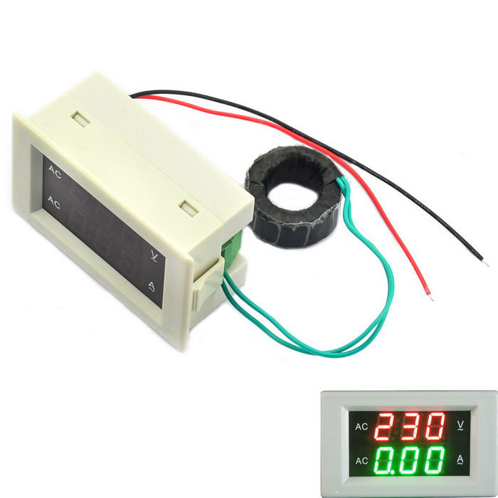 Jtron 3-digit AC 60~300V 100A Voltage Current Meter - White