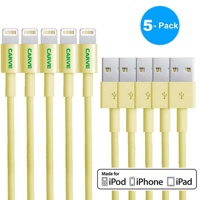 MFI CARVE 8Pin Lightning SB Data Cable for IPHONE6 - Yellow (5PCS, 1m)