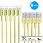 MFI CARVE 8Pin Lightning  SB Data Sync & Charging Cable for IPHONE 6 / 5 - Yellow (5 PCS / 1m)