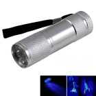 UV Light 9-LED 400nm Purple Light Flashlight Money Detector Light - Silver (4.5V)