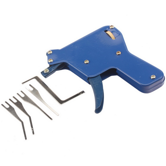 Strong Lock Pick Gun Locksmith Tool Door Lock Opener - Blue + SilverLocksmith Supplies<br>ModelN/AQuantity1 DX.PCM.Model.AttributeModel.UnitForm  ColorBlue + SilverMaterial65 Tisco Manganese SteelPacking List1 x Strong Lock Pick Gun1 x Tension wrench4 x Pick blades<br>