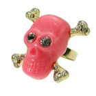 Skull Style Brass + Resin Finger Ring - Gold + Red (US Size 7)