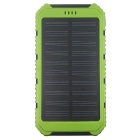 "Solar Powered ""8000mAh"" Li-polymer Battery Charger Power Bank w/ Flashlight - Green + Black"