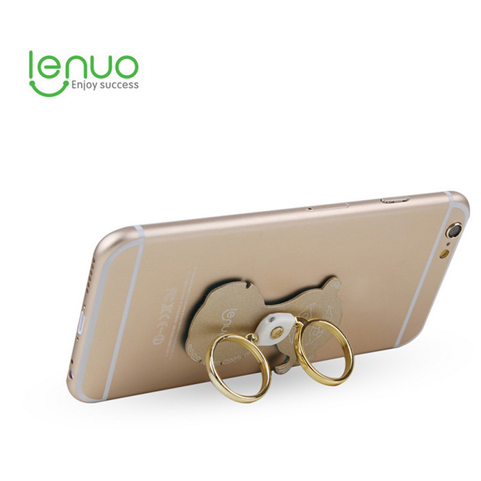 Lenuo 360 Degree Rotation Phone / Tablets Double Rings Mount Stand Holder for IPHONE 6 - Gold