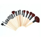 Professional Cosmetic Makeup Tools 24-Piece Wood Handle Wool Brushes Set w/ Leather Case - Black
