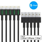 MFI CARVE Lightning 8-Pin USB Data Sync & Charging Cable  for IPHONE / IPOD - Black (5 PCS / 1m)