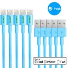 MFI CARVE 8Pin Lightning SB Data Sync & Charging Cable for IPHONE 6 / 5 - Blue (5PCS / 1m)