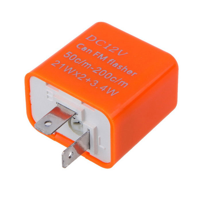 Motorcycle Flasher Relay 2-Pin LED Indicator Light - Orange (DC 12V)Others<br>Form ColorOrangeQuantity1 DX.PCM.Model.AttributeModel.UnitMaterialPlasticTypeOthersInterface1 x DC PortPacking List1 x Flasher<br>