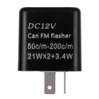 Motorcycle Flasher Relay 2-Pin LED Indicator Light - Black (DC 12V)