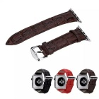 Crocodile Skin Pattern Leather Wrist Strap Watchband w/ Attachment for APPLE WATCH 38mm - Brown