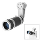 Universal 8x Clip-on Mobile Phone Telescope Camera Lens for IPHONE / Samsung & More - Silver + Black
