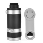 8x Clip-on Telescope Camera Lens for IPHONE & More - Silver + Black
