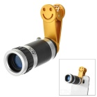Universal 8x Clip-on Mobile Phone Telescope Camera Lens for IPHONE / Samsung & More - Black + Golden