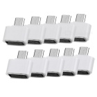 Universal USB2.0 to Micro USB OTG Adapter Set - White + Silver (10PCS)