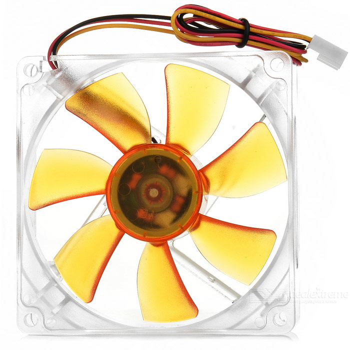 Akasa 7-Blade Quiet 9.2cm PC Case Cooling Fan - Orange + Transparent