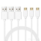 Dual Side Micro USB / USB 2.0 Data Cable - White (102cm / 3 PCS)