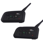 VNETPHONE V4-2-US Full Duplex Bluetooth Motorcycle Intercom Headset for 4 Riders - Black (Pair)