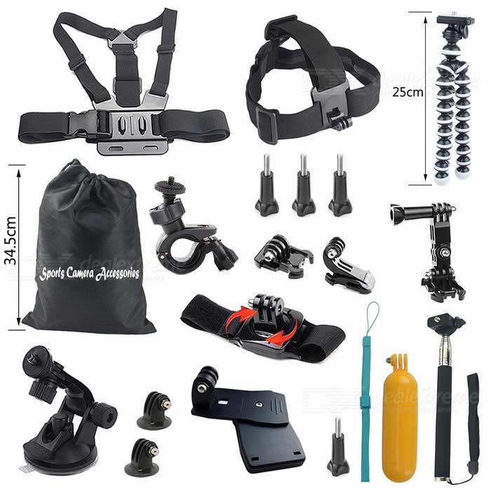 18-in-1 Hot Sports Camera Accessories Kit for GoPro Hero - Black