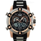 HPOLW Herren 30 m wasserdicht Resin-Armband Analog + Digital Quarz Sportuhr - Schwarz + Rose Gold