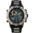 HPOLW Men's Waterproof Resin Band Analog + Digital Quartz Sports Watch - Black + Golden (1 x CR2025)
