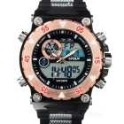 HPOLW Men's 30m Waterproof Silicone Band Analog + Digital Quartz Sports Watch - Black + Rose Gold