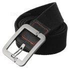 Casual Canvas Belt w/ Smooth Buckle - Black + Khaki