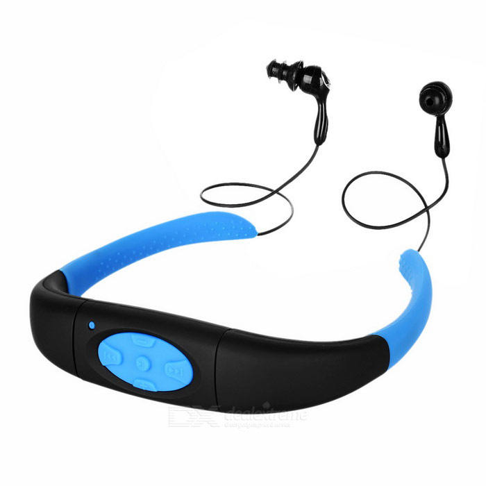 USB 2.0 Headband Waterproof IPX8 MP3 w/ 8GB Memory - Black + Blue
