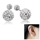 eQute 925 Sterling Silver Fashion Bullet Rhinestone Earrings - Silver (8mm + 12mm)