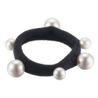 eQute Korean Fashionable Artificial Pearls High Elastic Rubber Band Hair Rope - Black