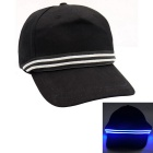 LED Blue Lighting Cotton Baseball Cap - Black
