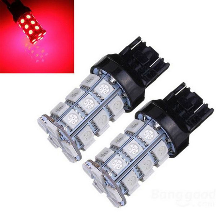 T20 5W 300lm 27-SMD LED Red Light Car Brake / Stop Light Bulb (paar)