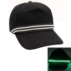 Green Lighting Cotton Baseball LED Cap - Black