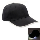White Lighting Baseball LED Cap - Black + White